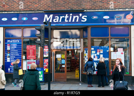 Exterior Of A Combined Martins Newsagents Shop and Post Office - Stock Image