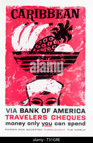 1960 magazine advert advertising Bank of America Travellers Cheques. - Stock Image
