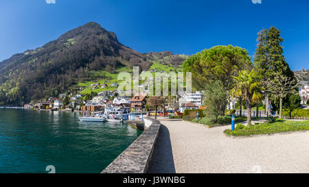 View of Rigi mountain from the village of Gersau, situated beneath the mountains on the shore of Lake Lucerne (Vierwaldstättersee) - Stock Image