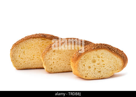Sliced bread isolated on white background - Stock Image