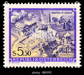 Austrian postage stamp (1986) : Monasteries and Abbeys series: Priory in St. Gerold / Propstei St Gerold - Stock Image