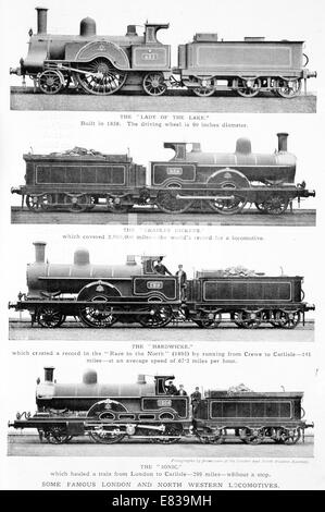 Famous London and North Western Locomotives Lady of the Lake, Charles Dickens, Hardwicke, Ionic 1860 to 1900 - Stock Image