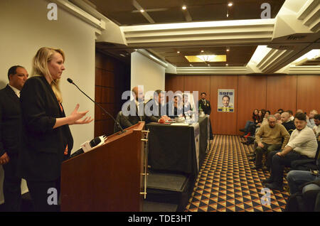 Marion Le Pen, leader of the Front National, right-wing party of France, hosted in Naples at the European electoral convention of the League, right-wing party, to support the candidate of the southern district Vincenzo Sofo. 14/05/2019, Naples, Italy  When: 14 May 2019 Credit: IPA/WENN.com  **Only available for publication in UK, USA, Germany, Austria, Switzerland** - Stock Image