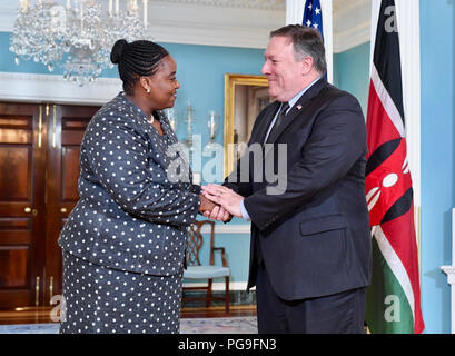 U.S. Secretary of State Michael R. Pompeo welcomes Kenyan Cabinet Secretary for Foreign Affairs and International Trade Monica Juma to the U.S. Department of State in Washington, D.C. on August 23, 2018. - Stock Image