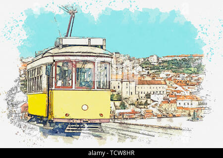 Watercolor sketch or illustration of a traditional yellow tram on a street in Lisbon in Portugal. - Stock Image