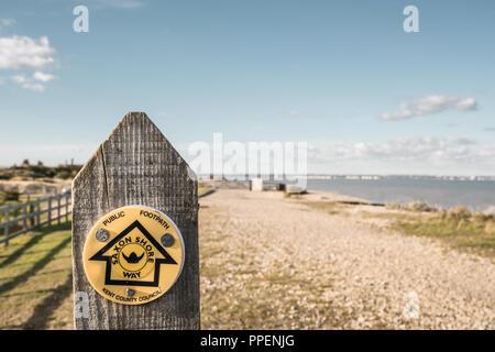 The Saxon Shore Way, Public, Footpath,Sandwich Bay, Kent - Stock Image