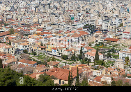 Rooftops of athens , view from Acropolis hill - Stock Image