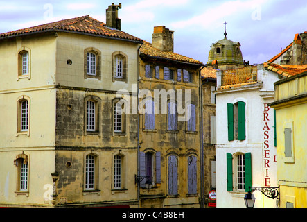 Arles; Bouches du Rhone, France; Typical house facades in the historical town - Stock Image