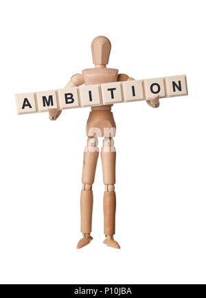 Wooden figurine with the word AMBITION isolated on white background - Stock Image