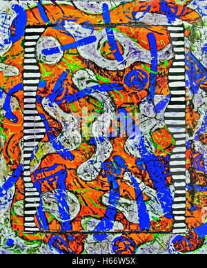 Vintage Memo. Painting, acrylic on canvas digitally adjusted - Stock Image