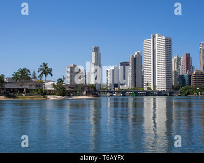 On The Nerang River With A View Of Surfers Paradise On The Gold Coast - Stock Image