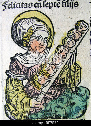 Nuremberg Chronicles Saint Felicity and heads of seven sons - Stock Image