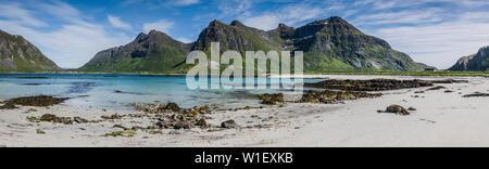 Flakstad beach, Ramberg, Lofoten islands, Norway - Stock Image