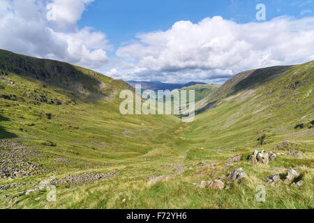 Looking down Pasture Beck with Hartsop Dod on the left and Hartsop in the distance in the English Lake District, - Stock Image