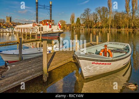 Boats and Paddle Steamer New Orleans, Henley On Thames, UK - Stock Image