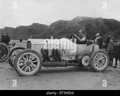 1908 Mercedes 120hp A W Tate at Saltburn 1909 - Stock Image