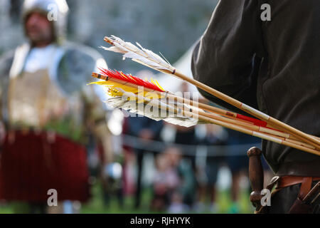 A quiver of arrows Re-enactment medieval festival - Stock Image
