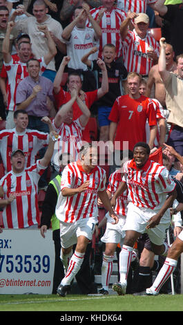 Footballer Darel Russell celebrates his goal with Gifton Noel-Williams Stoke City v Wolverhampton Wanderers 08 August - Stock Image