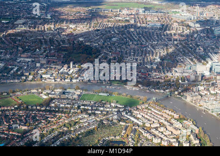 Aerial View of the River Thames and Barnes from the south - Stock Image