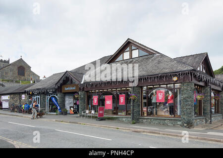 Hawkshead Family Outdoor Outfitters store just off Main Street, Hawkshead Cumbria, part of a chain of ten outdoor clothing and equipment stores in UK - Stock Image
