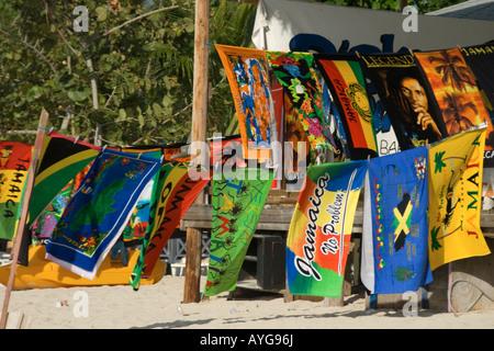 Jamaica Negril beach bath towles with jamaican motives Bob Marley Legend bath towel - Stock Image
