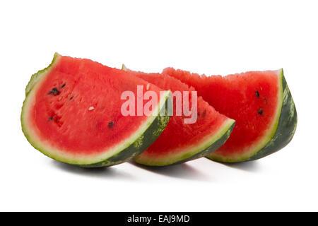 Three watermelon slices isolated on white, fresh fruit - Stock Image