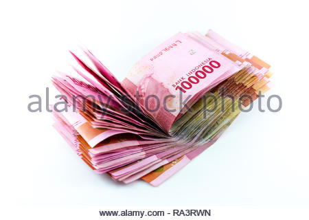 indonesia currency rupiah money on white background - Stock Image