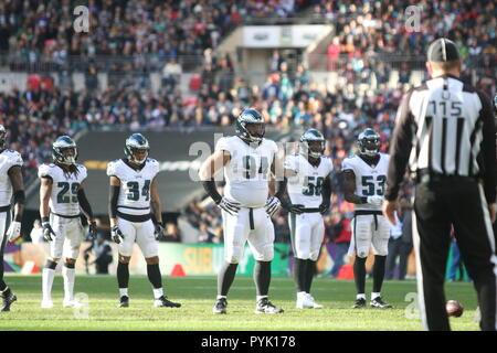 London, UK. 28 October 2018.  Philadelphia Eagles Defensive Tackle Haloti Ngata (94)  at the Eagles at Jaguars - credit Glamourstock Credit: glamourstock/Alamy Live News - Stock Image