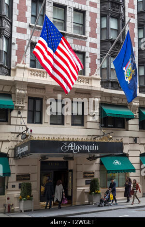The Algonquin hotel, New York City, New York State, USA.  The hotel, which is designated a New York City Historic Landmark, was opened in 1902.  It is - Stock Image