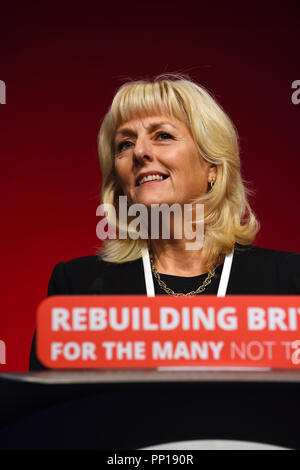 Liverpool, UK. 23rd Sep, 2018. Jennie Formby. Newly elected General Secretary of the Labour Party addressing the Labour Party conference in Liverpoolforthe first time as General Secretary.of the Labour Party Credit: Della Batchelor/Alamy Live News - Stock Image