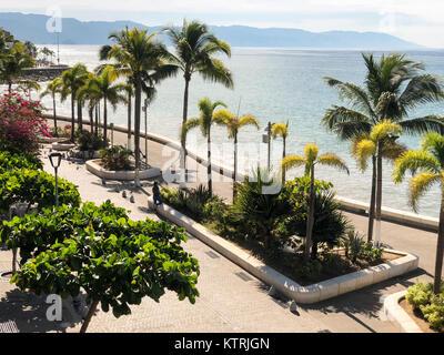 Malecon promenade in Puerto Vallarta, Jalisco, Mexico - Stock Image