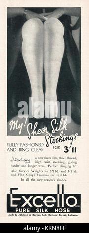 1939 UK Magazine Excello Stockings Advert - Stock Image