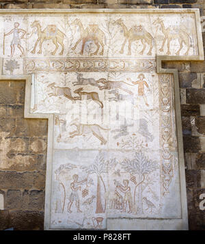Syria. Bosra (Busra al-Sham). Daraa District. Roman mosaic from the 6th century discovered in the Theatre. Top: Camel caravan. Central zone: Hunting (dogs chasing hare). Lower zone: agricultural work (harvest of dates and pigeon breeding). - Stock Image