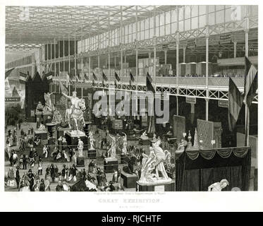 Main avenue of the Great Exhibition of 1851, visitors in the main avenue, looking at statues. - Stock Image