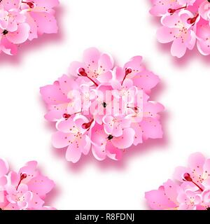 Decorative sakura flowers, bouquet, design elements with shadow. Seamless. Can be used for cards, invitations, posters. illustration - Stock Image