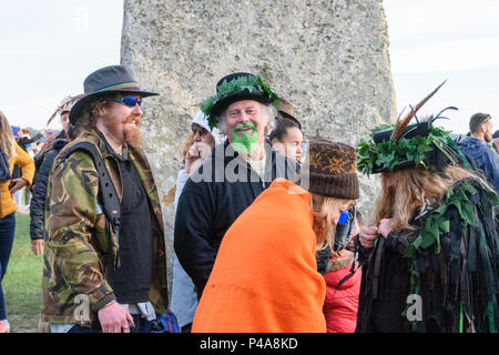 Stonehenge, Amesbury, UK, 21st June 2018,   Man with a green beard at the summer solstice  Credit: Estelle Bowden/Alamy Live News. - Stock Image