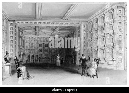 Interior of a room at Malahide Castle County Dublin Republic Ireland  circa 1840 - Stock Image