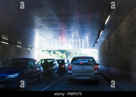 France, Nantes, department 44, underground passage under the tracks of the SNCF (French National Railway Company) station. - Stock Image