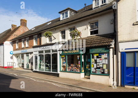 Salisbury Road in the small town of Fordingbridge, Hampshire, with a local branch of Barclays Bank , a hair salon - Stock Image