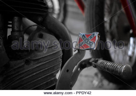 1942 Harley Davidson; with a Confederate Flag Pedal - Black and White apart from Flag colors on pedal and red forks - Model  WLA 750 - Stock Image