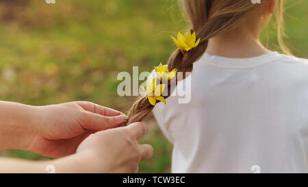 Caring motherly hands braid the hair of little girl. Mom adorns her hair by braiding live yellow forest flowers in pigtail. Happy motherhood. Child ca - Stock Image