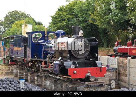 The No.6 'Blickling Hall' narrow gauge steam locomotive awaiting repair in the Bure Valley Railway station, Aylsham, Norfolk. - Stock Image