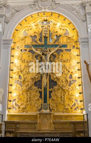 Italy Sicily Agrigento Piazza Purgatorio Chiesa di San Lorenzo rebuilt 1600s famed statues sculptures Christian Virtues Cross Crucifix gold gilt - Stock Image