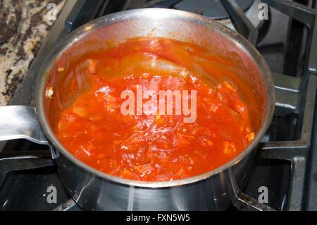 gourmet meat sauce, sauce, steel pot, gas range, gourmet - Stock Image