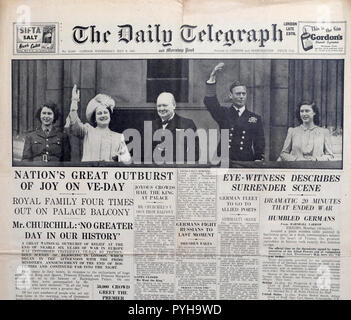 Daily Telegraph newspaper headline King George VI, Queen & daughters Elizabeth, Margaret & Winston Churchill the day after VE Day 9 May 1945 London UK - Stock Image