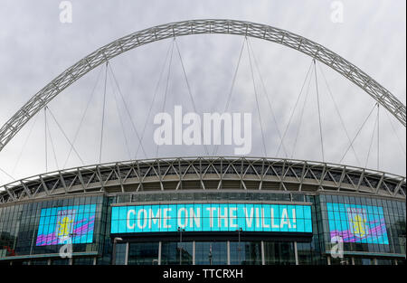 'come on Villa' for Aston Villa advertising before the EFL Championship play-off final, Wembley Stadium, London - Stock Image