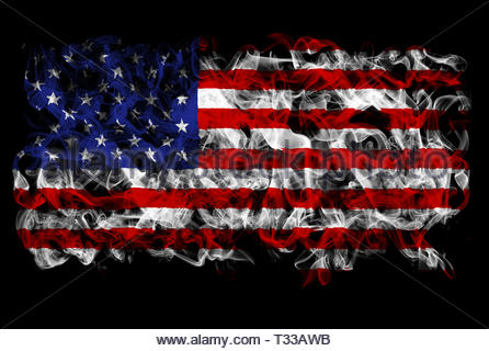 Smoking flag of the United States of America - Stock Image