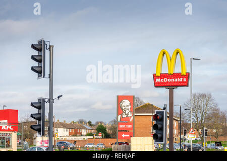A McDonald's and KFC fast food outlet/ drive through sign in Southampton, England, UK - Stock Image