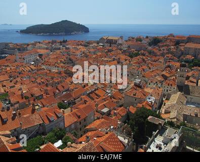 Croatia Coast, the roofs of European city, Dubrovnik - Stock Image