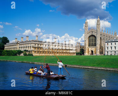 Punting on the Backs and Kings College Cambridge Cambridgeshire England UK - Stock Image
